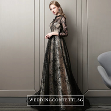 Load image into Gallery viewer, The Rhodella Black Long Sleeves Gown - WeddingConfetti