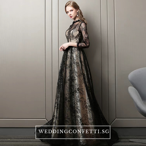 The Rhodella Black Long Sleeves Gown - WeddingConfetti