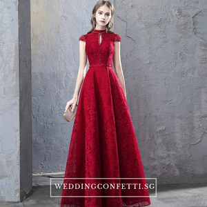 The Taylor Red High Collar Short Sleeve Gown - WeddingConfetti