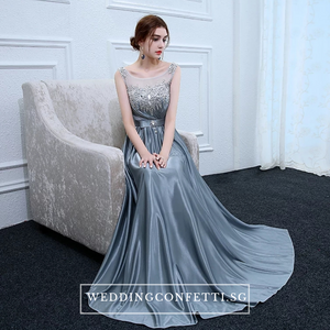 The Roxanna Grey Crystals Sleeveless Gown - WeddingConfetti