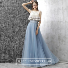 Load image into Gallery viewer, The Rezzane Champagne Blue Lace Long Dress - WeddingConfetti
