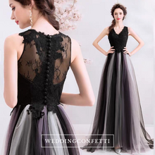 Load image into Gallery viewer, The Cornelia Black Lace Sleeveless Ombre Dress - WeddingConfetti