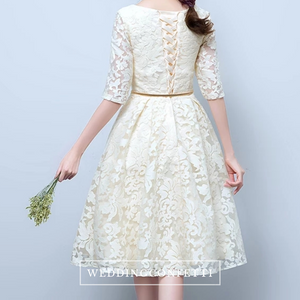 The Raynee Champagne Long Sleeves Illusion Lace Dress - WeddingConfetti