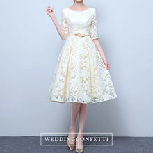 Load image into Gallery viewer, The Raynee Champagne Long Sleeves Illusion Lace Dress - WeddingConfetti