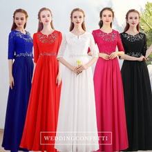Load image into Gallery viewer, The Kistina Long Sleeves Royal Blue / White / Red / Fuchsia / Black Dress  (Available in 5 colours) - WeddingConfetti