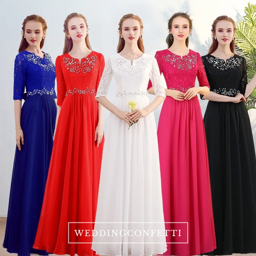 The Kistina Long Sleeves Royal Blue / White / Red / Fuchsia / Black Dress  (Available in 5 colours) - WeddingConfetti