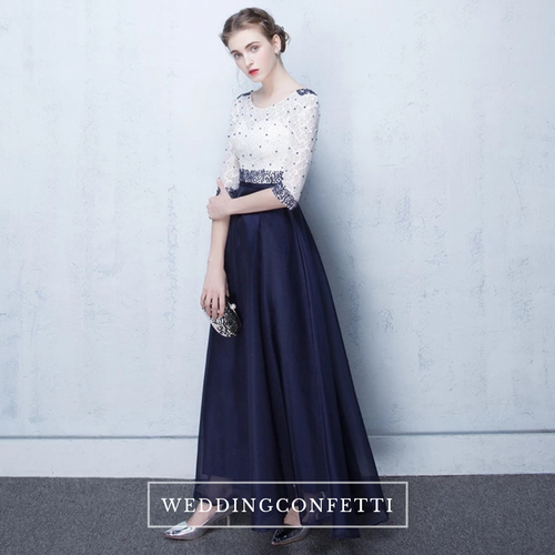 The Tabitna White Navy Blue Long Sleeves Gown - WeddingConfetti