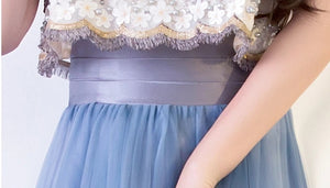 The Rezzane Champagne Blue Lace Long Dress