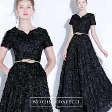 Load image into Gallery viewer, The Rikka Black/Pink/Red/Navy Blue/Gold/Grey Short Sleeve Gown - WeddingConfetti