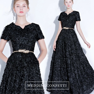 The Rikka Black/Pink/Red/Navy Blue/Gold/Grey Short Sleeve Gown - WeddingConfetti