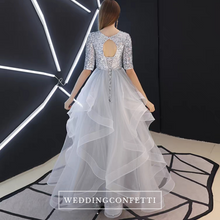 Load image into Gallery viewer, The Alethea Silver Sequined Long Sleeves Gown - WeddingConfetti