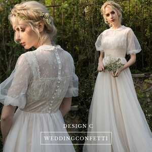 The Alene Bohemian Puff Sleeves Wedding Gown - WeddingConfetti