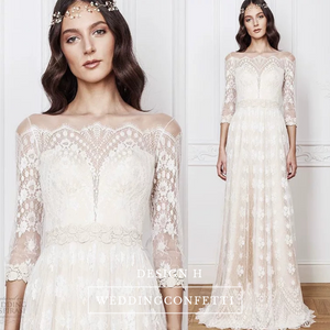 The Rona Bohemian Long Sleeve Gown - WeddingConfetti