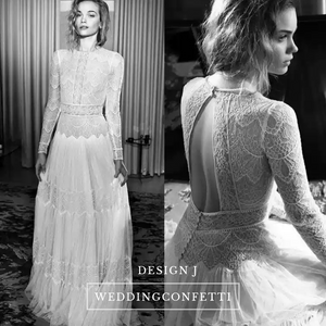 The Yolanda Bohemian Bridal Long Sleeves Gown - WeddingConfetti