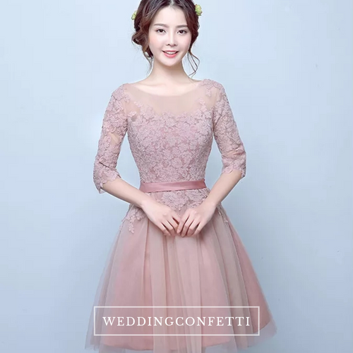 The Rosaelyn Pink lace Sleeves Short Evening Gown