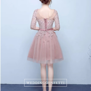 The Rosaelyn Pink lace Sleeves Short Evening Gown - WeddingConfetti