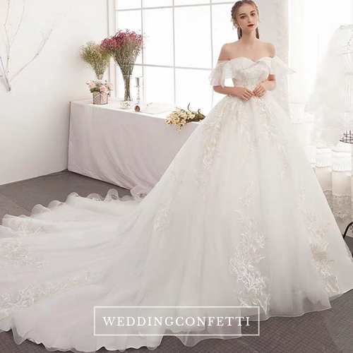 The Guinevere Wedding Bridal Off Shoulder Gown - WeddingConfetti