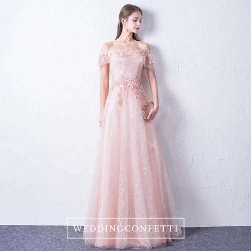 The Lovine Pink Off Shoulder Short Sleeves Gown - WeddingConfetti