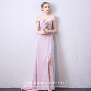The Sharel Pink Off Shouder Satin Gown - WeddingConfetti