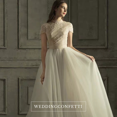 The Rossalie Wedding Bridal High Collar Gown - WeddingConfetti
