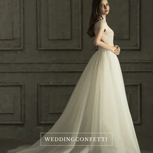Load image into Gallery viewer, The Rossalie Wedding Bridal High Collar Gown - WeddingConfetti