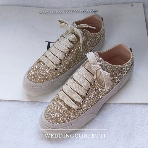 Wedding Bridal Gold / Silver / Black Glitter Sneakers