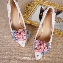 Load image into Gallery viewer, Wedding Bridal Floral Heels - WeddingConfetti