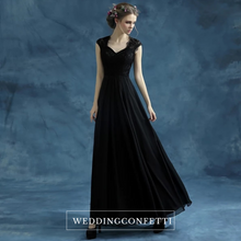 Load image into Gallery viewer, The Belinda Black Cap Sleeve Dress Gown - WeddingConfetti