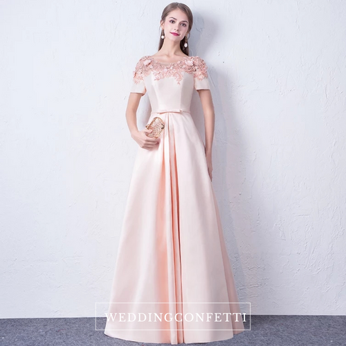The Meridia Satin Floral Pink Short Sleeves Gown - WeddingConfetti