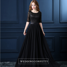 Load image into Gallery viewer, The Georgio Black Long Sleeves Gown - WeddingConfetti