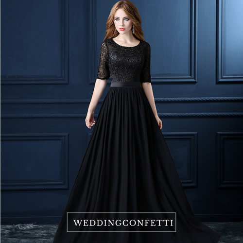 The Georgio Black Long Sleeves Gown - WeddingConfetti