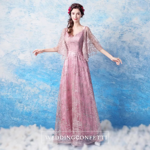 The Veronique Gold / Pink / Grey Flare Sleeves Gown - WeddingConfetti
