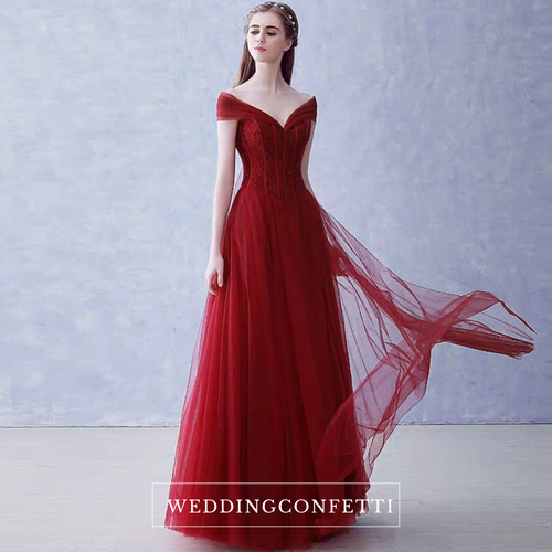The Rerinza Red / Black Off Shoulder Gown (Available in 2 colours) - WeddingConfetti
