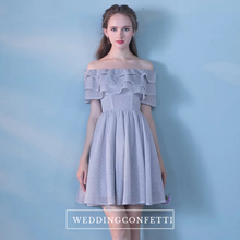 Load image into Gallery viewer, The Faithe Off Shoulder Short Grey Dress - WeddingConfetti