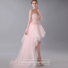 Load image into Gallery viewer, The Nicolette Pink Tube Hi Low Lace Dress - WeddingConfetti
