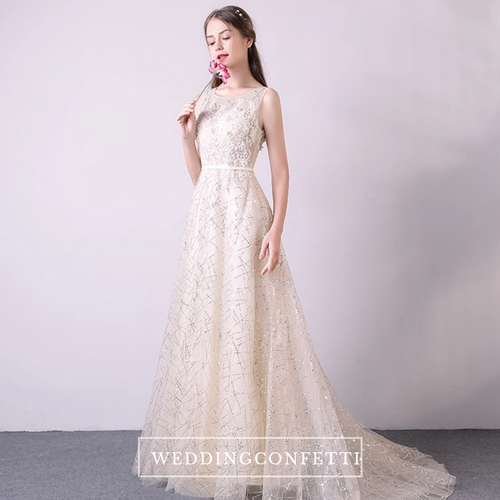The Audrea Champagne Sleeveless Gown - WeddingConfetti