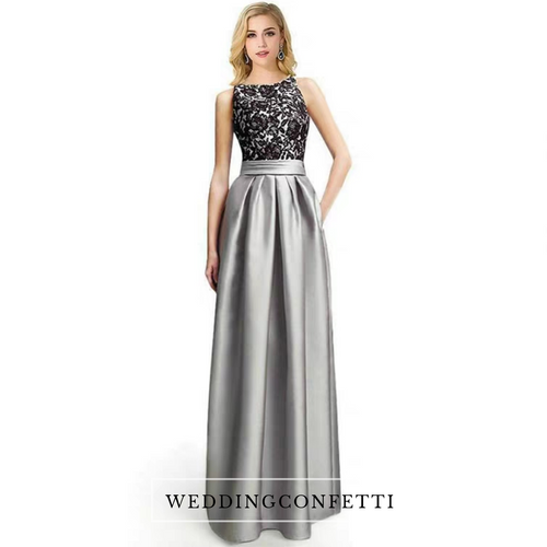 The Georgia Lace Black and Grey Evening Gown - WeddingConfetti