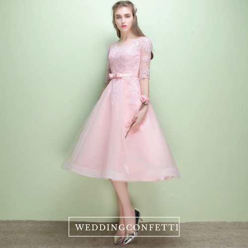 The Leanne Pink Illusion Lace Long Sleeves Dress - WeddingConfetti