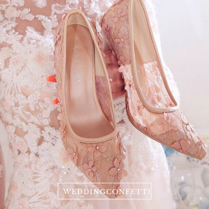 Wedding Bridal Floral Lace Heels (Available in 3 colours) - WeddingConfetti