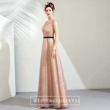 Load image into Gallery viewer, The Laura Champagne Glitter Sleeveless Gown - WeddingConfetti
