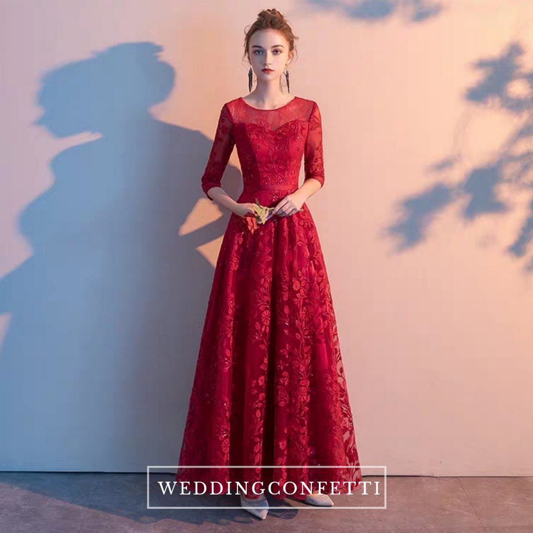 The Herientta Red Long Sleeves Lace Gown - WeddingConfetti