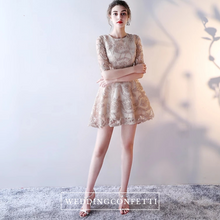 Load image into Gallery viewer, The Tisha Gold Lace Tulle Long Sleeves Dress - WeddingConfetti