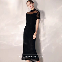 Load image into Gallery viewer, The Lerelle Black Cheongsam Mandarin Collar Gown - WeddingConfetti