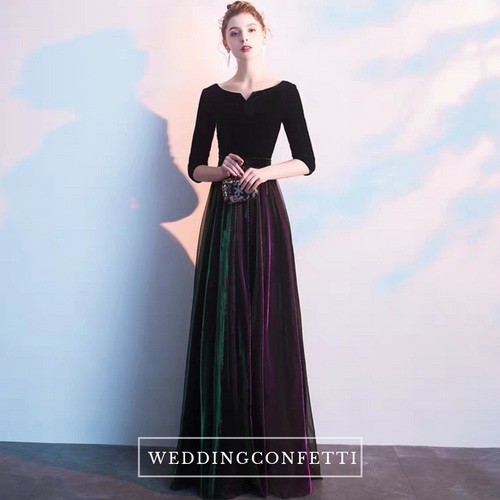 The Rita Black Ombre Long Sleeves Gown - WeddingConfetti