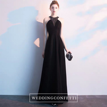 Load image into Gallery viewer, The Kazel Black Halter Gown - WeddingConfetti