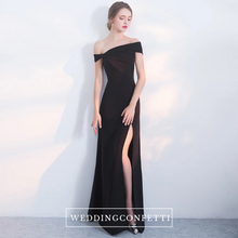 Load image into Gallery viewer, The Freida Off Shoulder Black Gown - WeddingConfetti