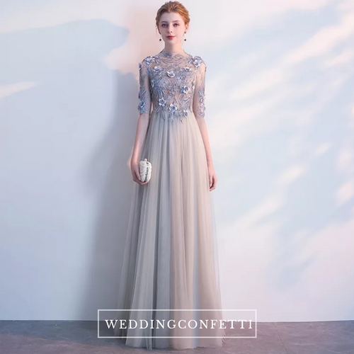 Sarah Grey Long Sleeves Gown - WeddingConfetti
