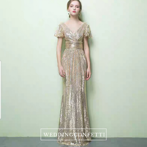 Greta Gold Glitter Dress - WeddingConfetti