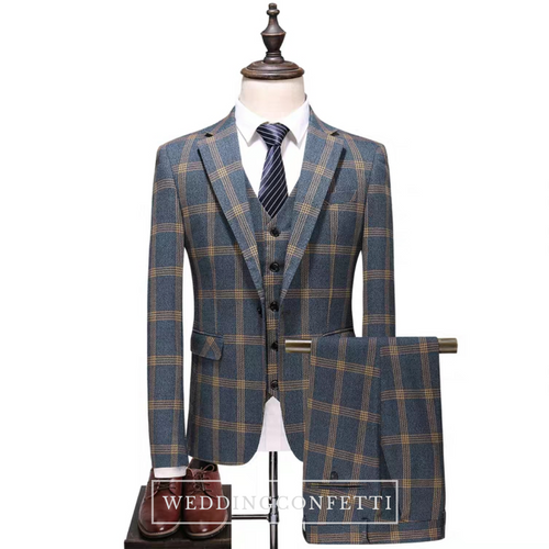 Vauseton Groom Men's Checkered Suit Jacket, Vest and Pants (3 Piece) - WeddingConfetti