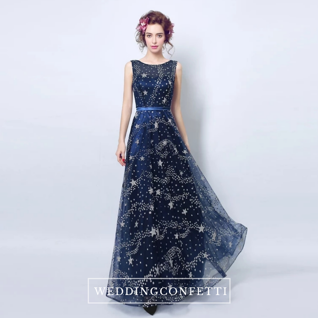 The Cassiopeia Blue Stars Sleeveless Gown - WeddingConfetti